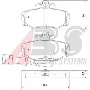 A.B.S. 36170 Колодка торм. FORD ESCORT/SCORPIO/SIERRA задн. (пр-во ABS)