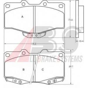 A.B.S. 36724 Колодка торм. TOYOTA/VW HI-LUX/LANDCRUISER передн. (пр-во ABS)