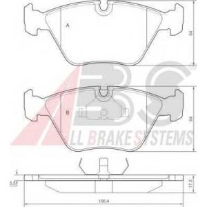 A.B.S. 36755 Комплект тормозных колодок, дисковый тормоз Ягуар