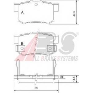 A.B.S. 36757 Комплект тормозных колодок, дисковый тормоз Хонда Интегра