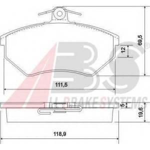 A.B.S. 36789 Комплект тормозных колодок, дисковый тормоз Ауди Кабриолет