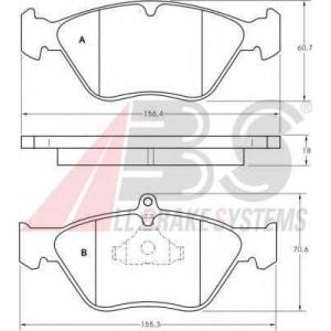 A.B.S. 36805 Комплект тормозных колодок, дисковый тормоз Опель Калибра