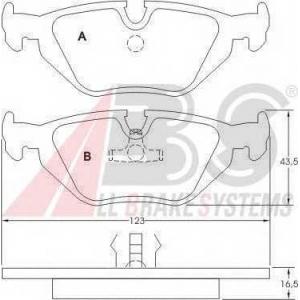 A.B.S. 36824 Комплект тормозных колодок, дисковый тормоз Бмв З3