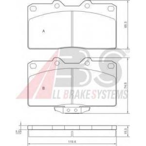 A.B.S. 36839 Комплект тормозных колодок, дисковый тормоз Митсубиси 3000 Джи-Ти