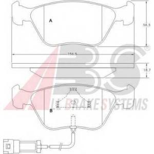 ABS 36880 Комплект тормозных колодок, дисковый тормоз