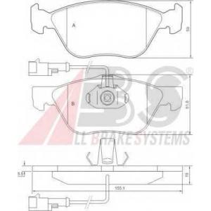 A.B.S. 36894 Комплект тормозных колодок, дисковый тормоз Фиат Мултипла