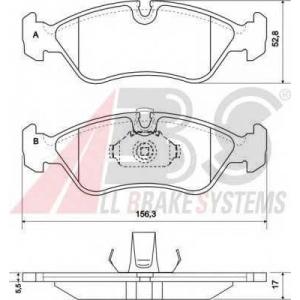 A.B.S. 36896 Комплект тормозных колодок, дисковый тормоз Опель Калибра