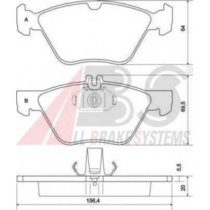 A.B.S. 36943 Комплект тормозных колодок, дисковый тормоз Крайслер Кроссфайр