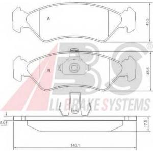 A.B.S. 36996 Комплект тормозных колодок, дисковый тормоз Форд Фиеста