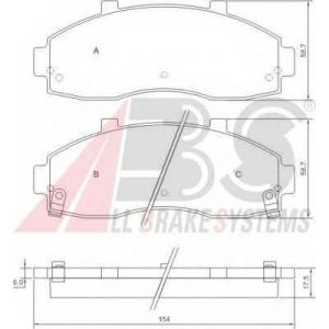 A.B.S. 37044 Комплект тормозных колодок, дисковый тормоз Киа Преджио