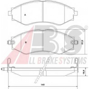 A.B.S. 37053 Колодка торм. DAEWOO/CHEVROLET EVANDA/LEGANZA/TACUMA передн. (пр-во ABS)