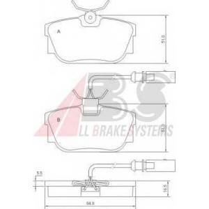A.B.S. 37110 Колодка торм. VW T4 задн. (пр-во ABS)
