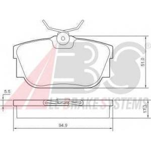 A.B.S. 37118 Колодка торм. VW T4 задн. (пр-во ABS)