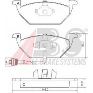 A.B.S. 37155 Колодка торм. AUD/SEAT/SKODA/VW A3/LEON/FABIA/OCTAVIA/BORA/GOLF передн. (пр-во ABS)