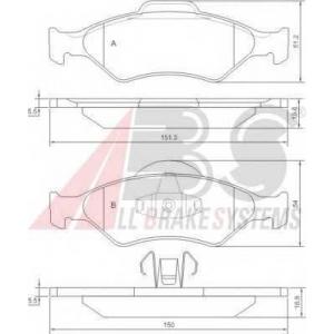 A.B.S. 37196 Колодка торм. FORD COURIER/FIESTA/KA передн. (пр-во ABS)