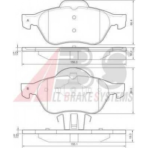 A.B.S. 37217 Колодка торм. RENAULT (GRAND)ESPACE/LAGUNA передн. (пр-во ABS)