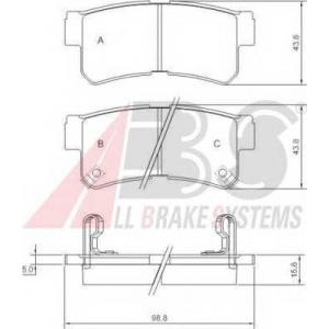 A.B.S. 37252 Комплект тормозных колодок, дисковый тормоз Хюндай Траджет