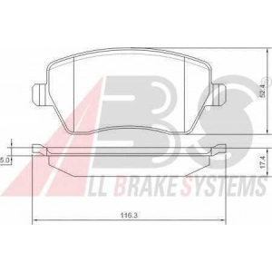 A.B.S. 37395 Колодка торм. NISSAN/RENAULT MICRA/MODUS передн. (пр-во ABS)