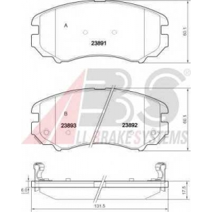 A.B.S. 37423 Комплект тормозных колодок, дисковый тормоз Хюндай Туксон