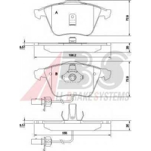A.B.S. 37425 Комплект тормозных колодок, дисковый тормоз Ауди Оллроад
