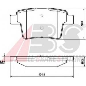 A.B.S. 37489 Комплект тормозных колодок, дисковый тормоз Ягуар Икс Тайп