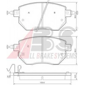 A.B.S. 37504 Колодка торм. INFINITI/NISSAN FX35/45/MURANO/PATHFINDER передн. (пр-во ABS)