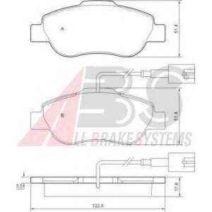 A.B.S. 37594 Комплект тормозных колодок, дисковый тормоз Фиат 500