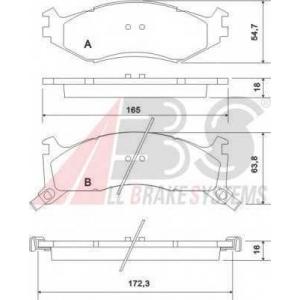 A.B.S. 38521 Комплект тормозных колодок, дисковый тормоз Крайслер Le
