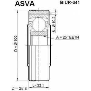 ASVA BIUR-341 Шрус внутренний задний 25x100