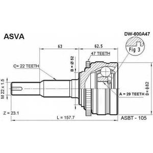 ASVA DW-600A47 ШРУС НАРУЖНЫЙ 29X52X22 (LANOS)