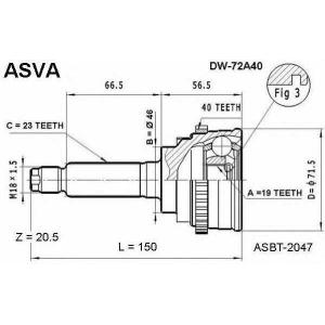 ASVA DW-72A40 ШРУС НАРУЖНЫЙ 19x46x23