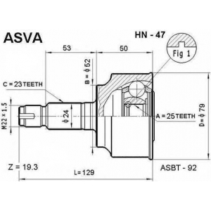 ASVA HN-47 Шрус наружный 25x52x23