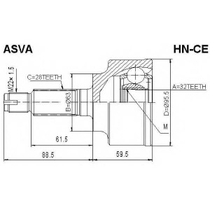 ASVA hn-ce Шрус наружный 32x63x28