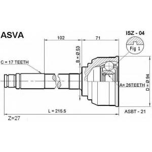 ASVA isz-04 Шрус наружный 26x53x17