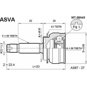 ASVA MT-38A43 ШРУС НАРУЖНЫЙ 29X57X25 (LANCER CEDIA CS5W CS2A(4WD) AIRTREK CU2W)