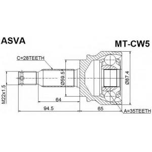 ASVA MT-CW5 ШРУС НАРУЖНЫЙ 35x59.5x28