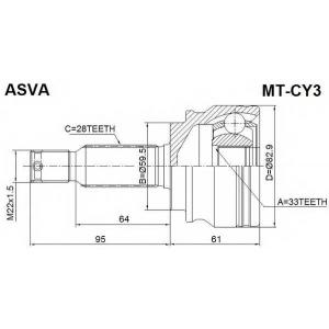 ASVA MT-CY3 ШРУС НАРУЖНЫЙ 33x59,5x28