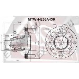 ASVA mtwh-e55a43r Ступица задняя с кольцом абс