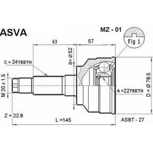 ASVA MZ-01 ШРУС НАРУЖНЫЙ 22X52X24 (FAMILIA 323( BD)