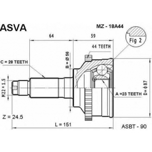 ASVA mz-18a44 Шрус внешний передний с кольцом abs
