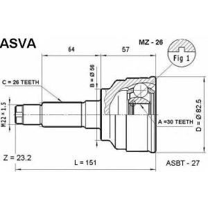 ASVA mz-26 Шрус внешний передний