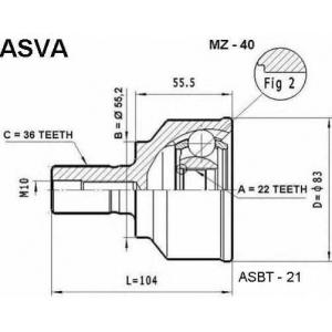 ASVA MZ40 Шрус наружный 22x55.3x36
