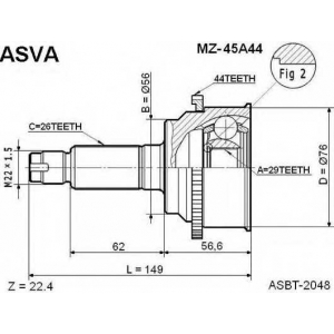ASVA MZ-45A44 ШРУС НАРУЖНЫЙ 29X56X26 (PREMACY/IXION CP8W)