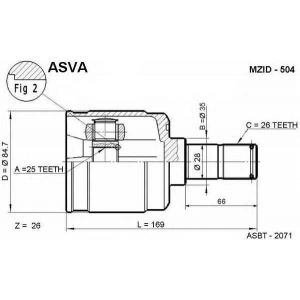 ASVA MZID-504 Шрус внутренний левый 25x35x26