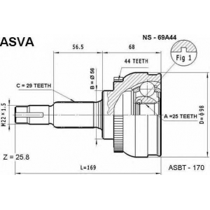 ASVA NS-69A44 Шрус наружный 25x56x29