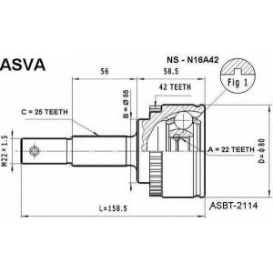 ASVA NS-N16A42 ШРУС НАРУЖНЫЙ 22x55x25