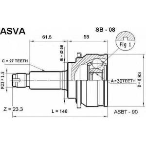 ASVA sb-08 Шрус внешний передний