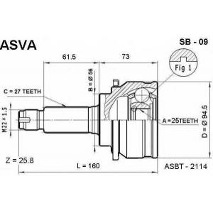 ASVA sb-09 Шрус внешний передний