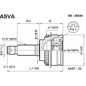 ASVA sb-26a44 Шрус внешний передний с кольцом abs