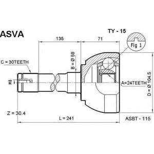ASVA ty-15 Шрус внешний передний